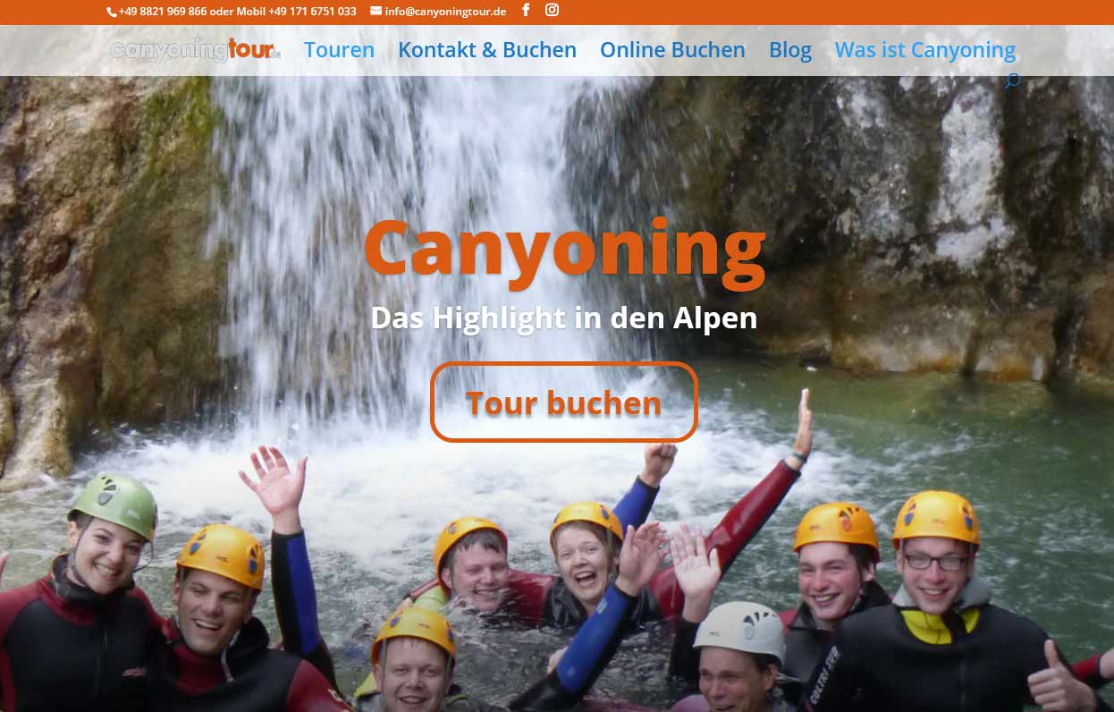 Website Canyoning Tour
